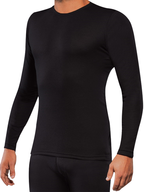 mens black 2x2 rib bamboo long sleeve thermal - underworks