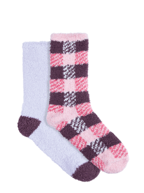 Women's Cosy Home Socks 2 Pack Crew - checkered | Underworks