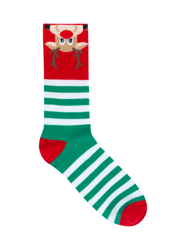 Men's Novelty Christmas Crew Socks Reindeer - green and red - Underworks
