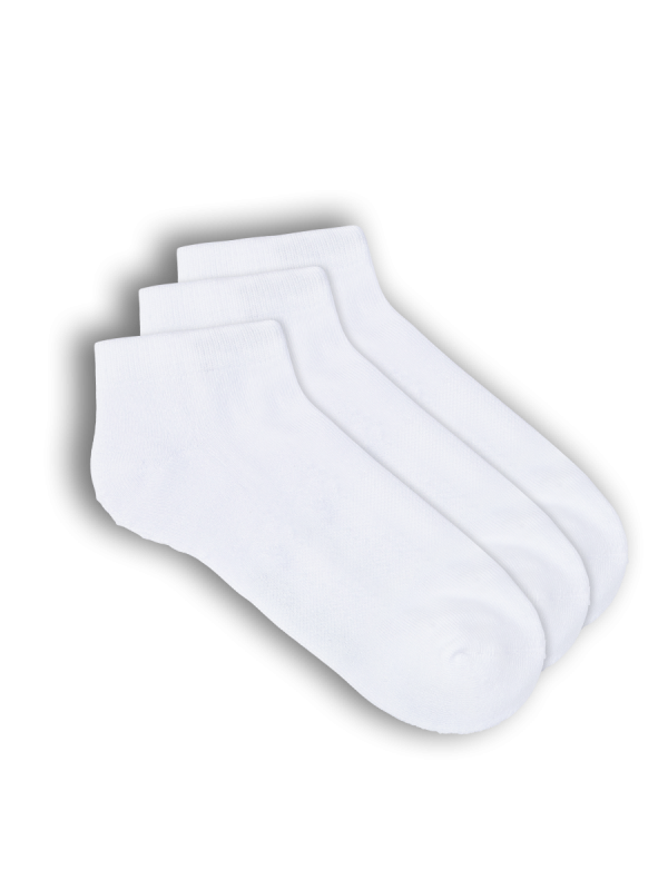 mens white organic bamboo sport low cut socks - 3 pack