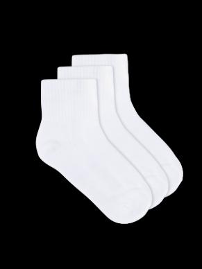 womens white organic bamboo sport anklet socks - 3 pack | Underworks