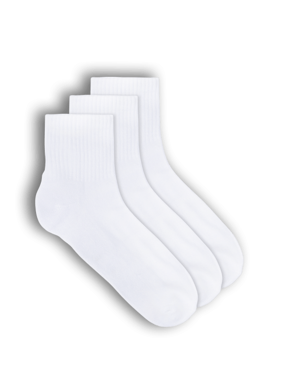 Mens white organic bamboo sports quarter crew socks - 3 pack