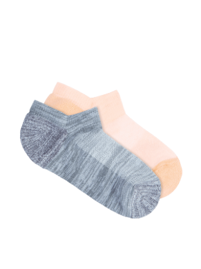 Women's Active Light Weight No Show 2 Pack - fanta and grey - Underworks