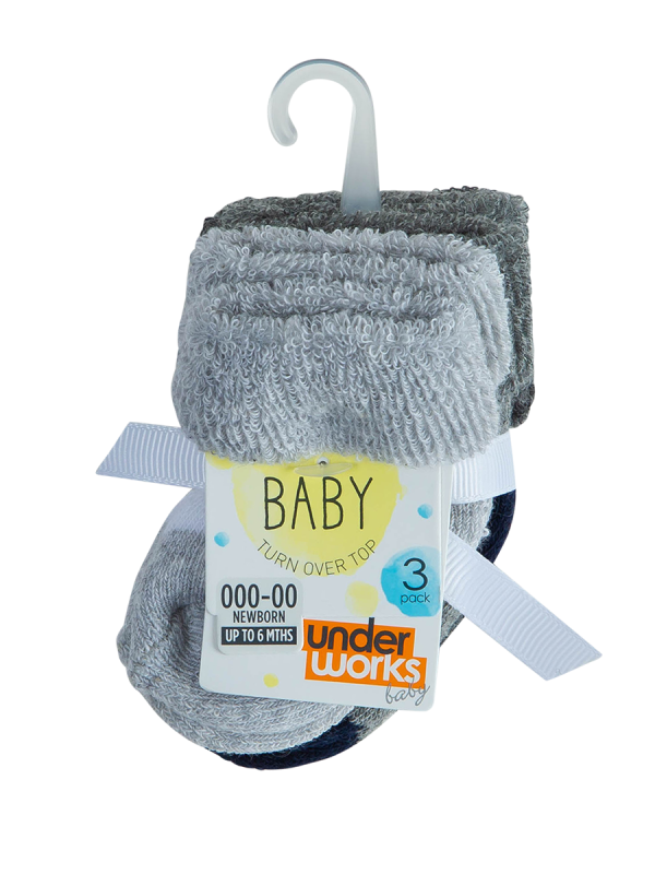 infants terry turn over top socks 3 pack - underworks