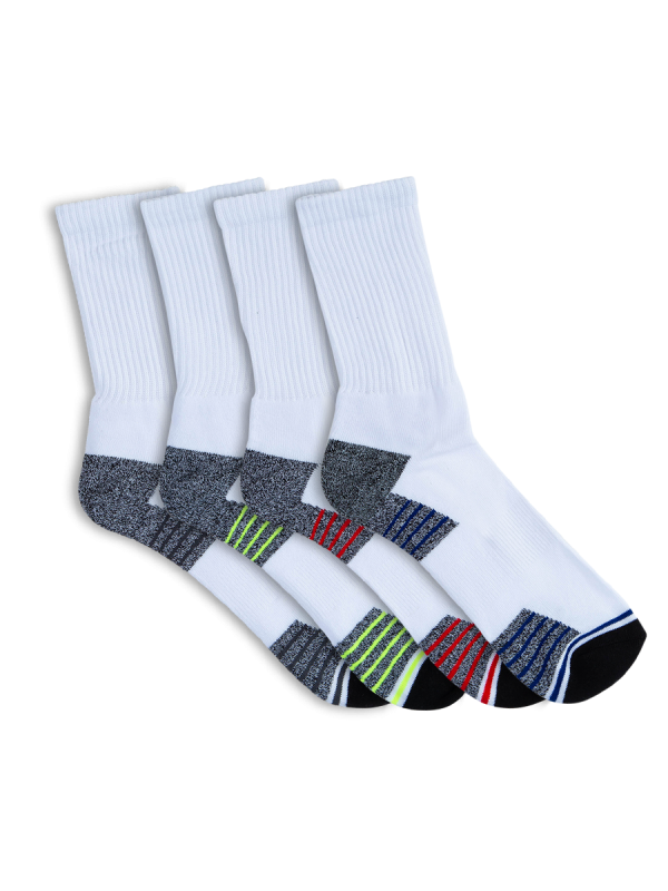 mens white crew sport socks - 4 pack - underworks