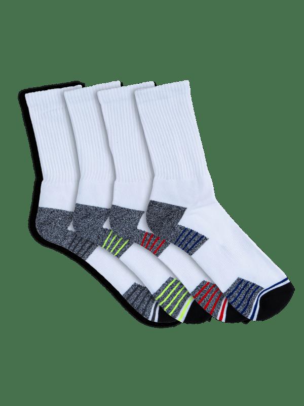 mens white crew sport socks - 4 pack - underworks