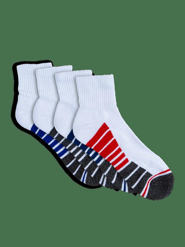 mens white quarter crew sport socks - 4 pack - underworks