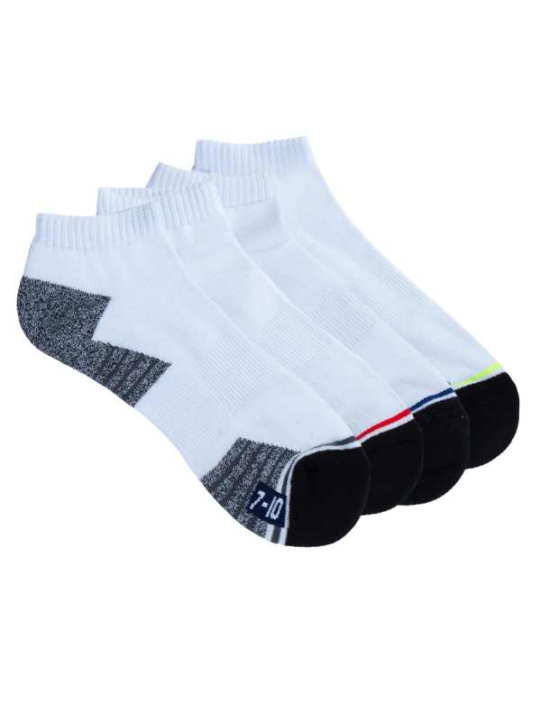 mens white low cut sport socks - 4 pack - underworks