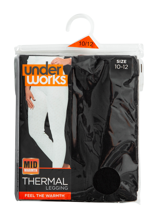 womens black pointelle long john thermal - underworks
