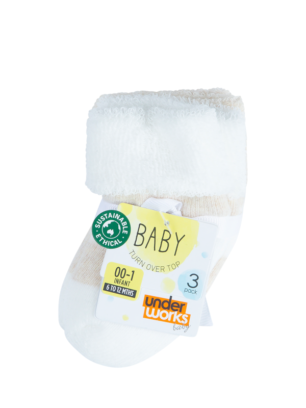 infants oat terry turn over top socks 3 pack - underworks