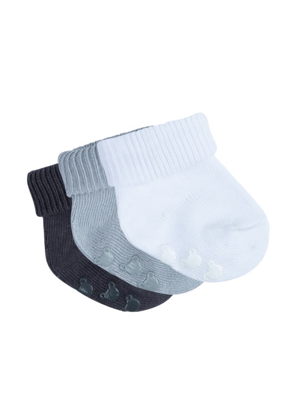 infant grey, white and charcoal soft touch rib tot socks 3 pack - underworks