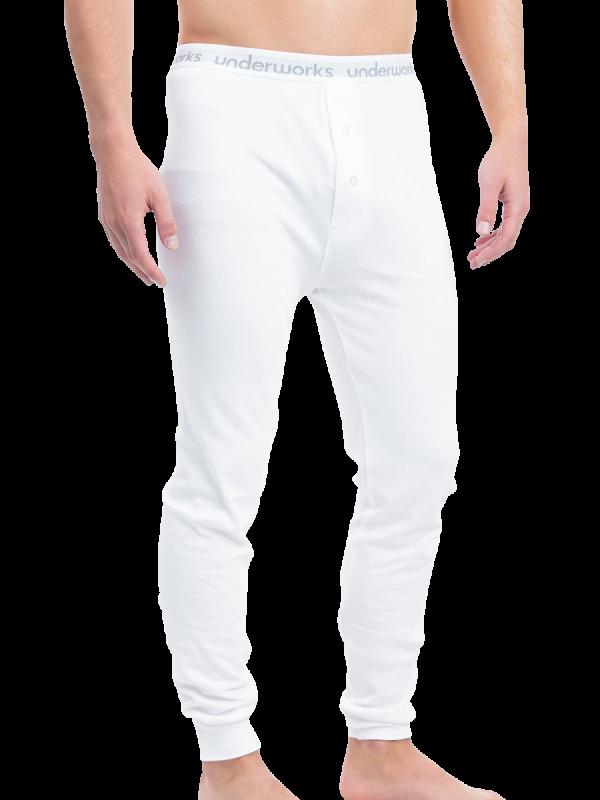 mens white cotton interlock long john thermal - underworks