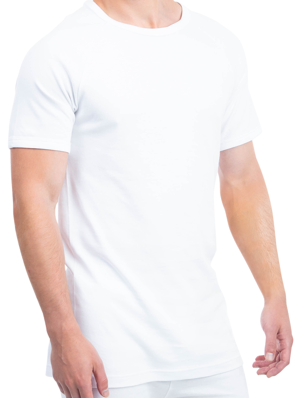 mens white cotton interlock short sleeve thermal - underworks