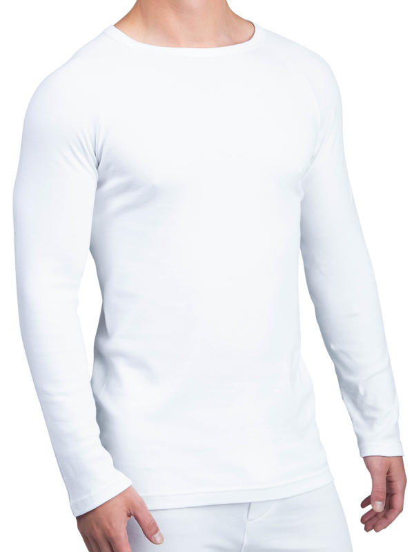 mens white cotton interlock long sleeve thermal - underworks