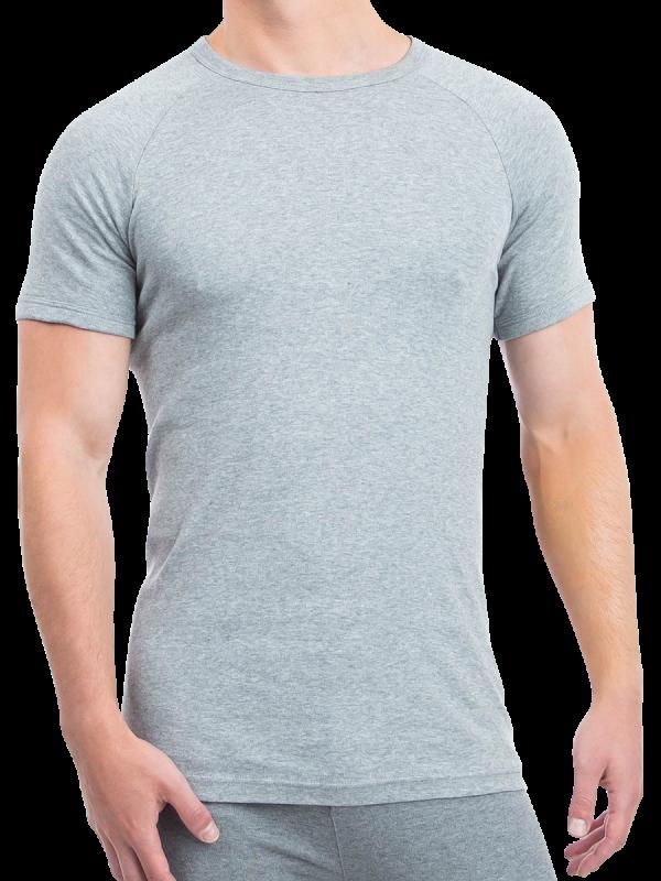 mens grey cotton interlock short sleeve thermal - underworks