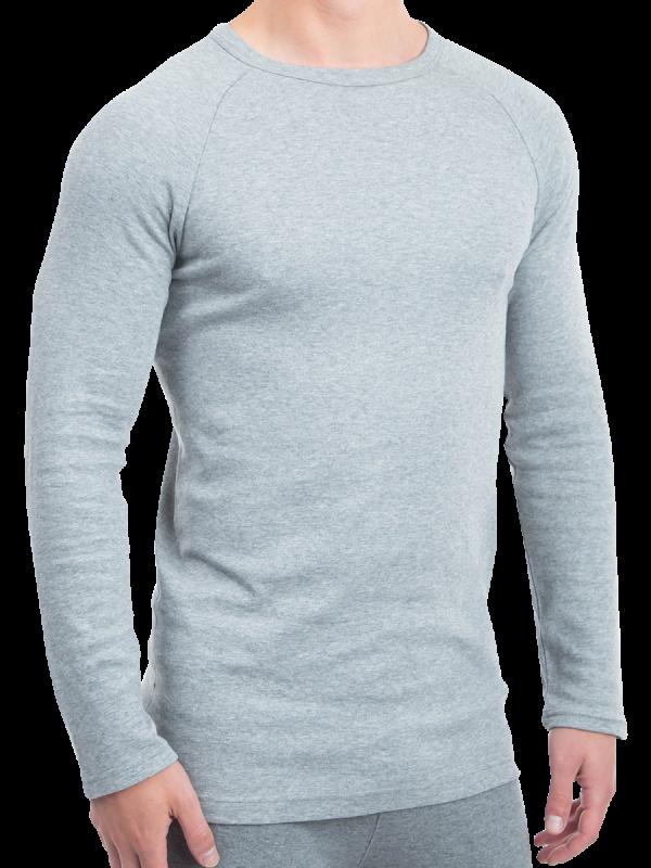 mens grey cotton interlock long sleeve thermal - underworks