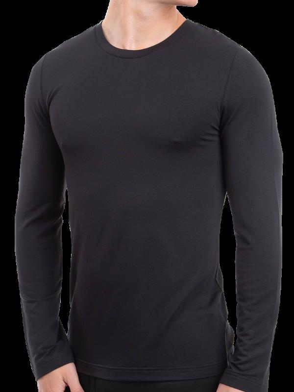 mens black heat bods long sleeve thermal - underworks