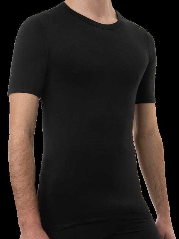 mens black 2x2 rib bamboo short sleeve thermal - underworks
