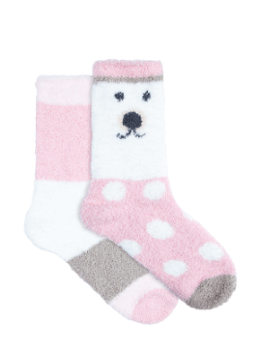 Women's Cosy Home Socks 2 Pack Crew - Pink and White | Underworks