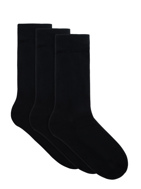 Mens black organic bamboo casual crew socks 3 pack | Underworks