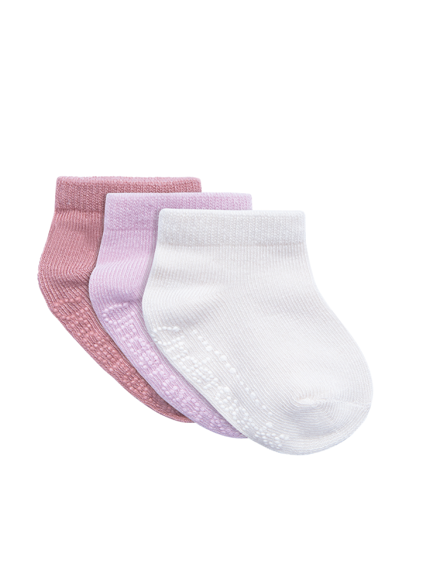 Infants eco bamboo pink and white low cut 3 pack socks | Underworks
