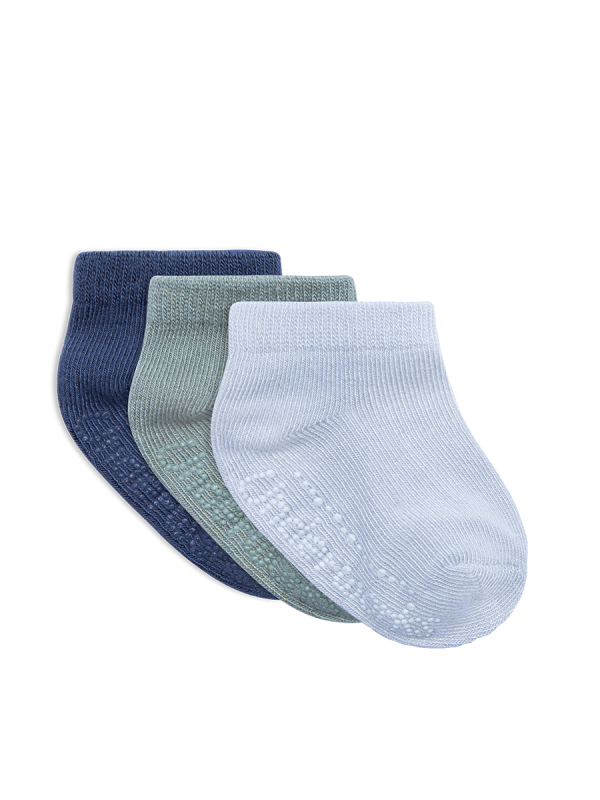 Infant eco bamboo low cut grey, white and navy 3 pack socks | Underworks