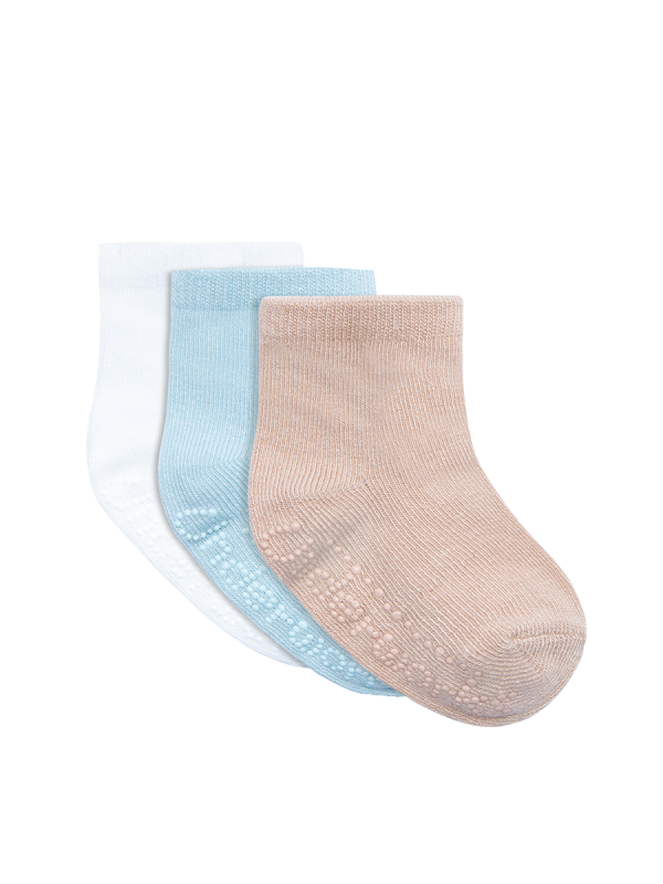 Infants eco bamboo blue and white mid crew 3 pack socks | Underworks