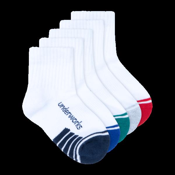 kids white quarter crew socks 5 pack - underworks