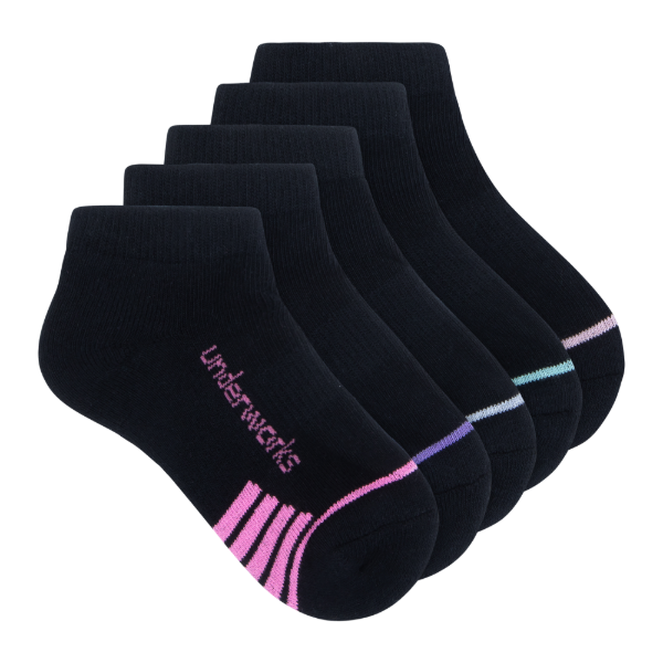 kids black low cut sport socks 5 pack - underworks