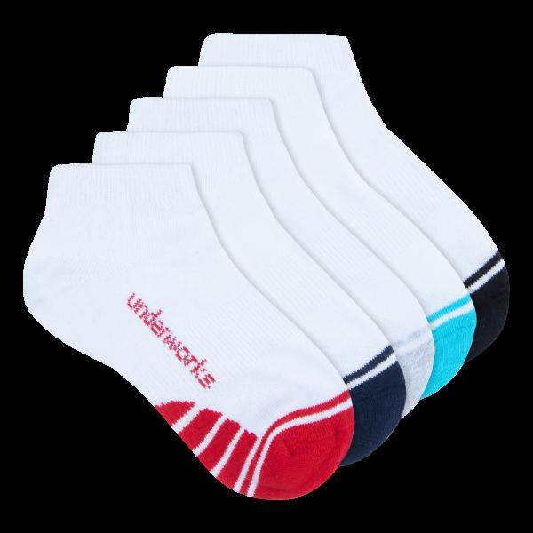 kids white low cut sport socks 5 pack - underworks