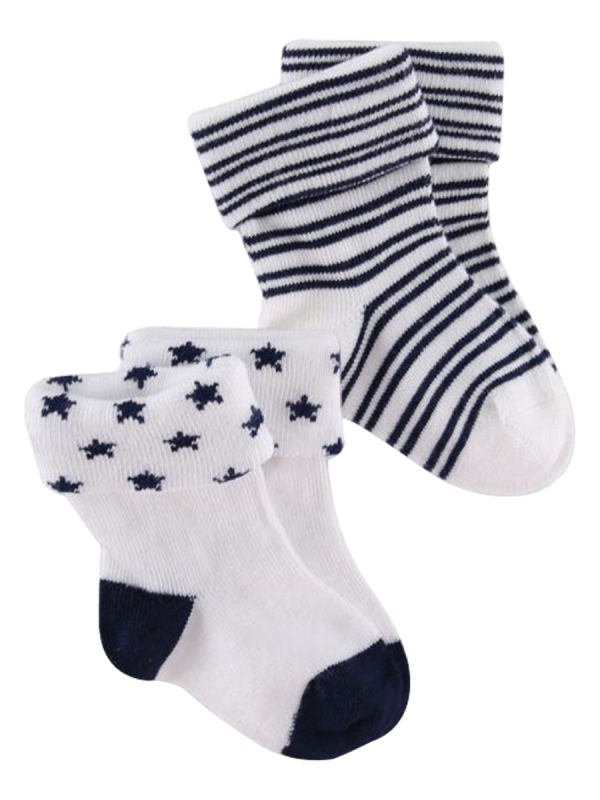 baby black and white stars, stripes modal turn over top socks 2 pack - underworks
