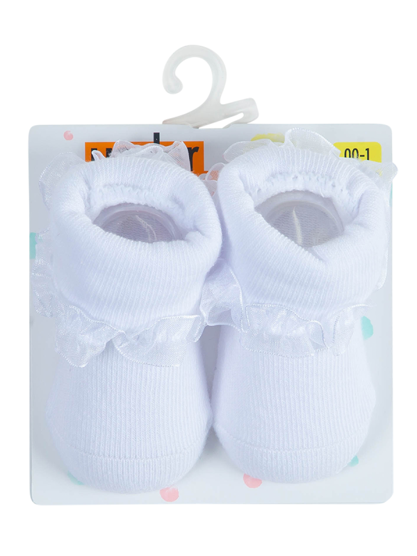 baby white turn over top socks - underworks