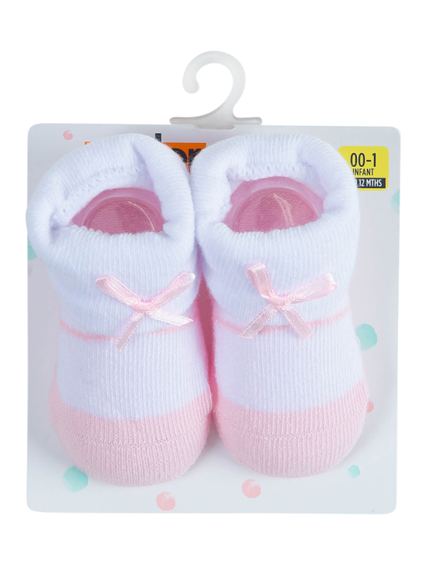 baby pink and white turn over top socks - underworks
