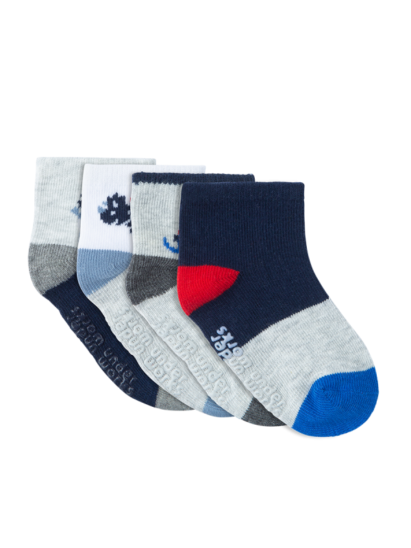 Infants Pattern Grey and Navy Mid Crew 4 Pack Socks | Underworks
