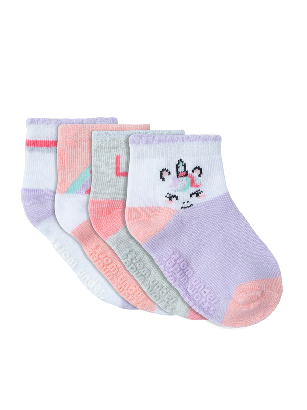 Infants patterned white, purple and pink mid crew 4 pack socks | Underworks
