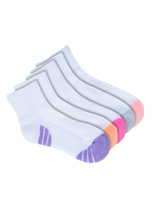 kids white quarter crew socks 5 pack - underworks