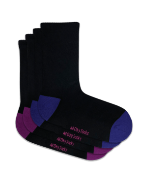Women's Black - Pink & Blue All Day Socks - 2 Pack