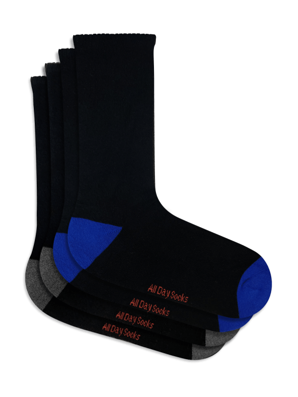 Black Blue & Grey All Day Mens Socks 2 Pack