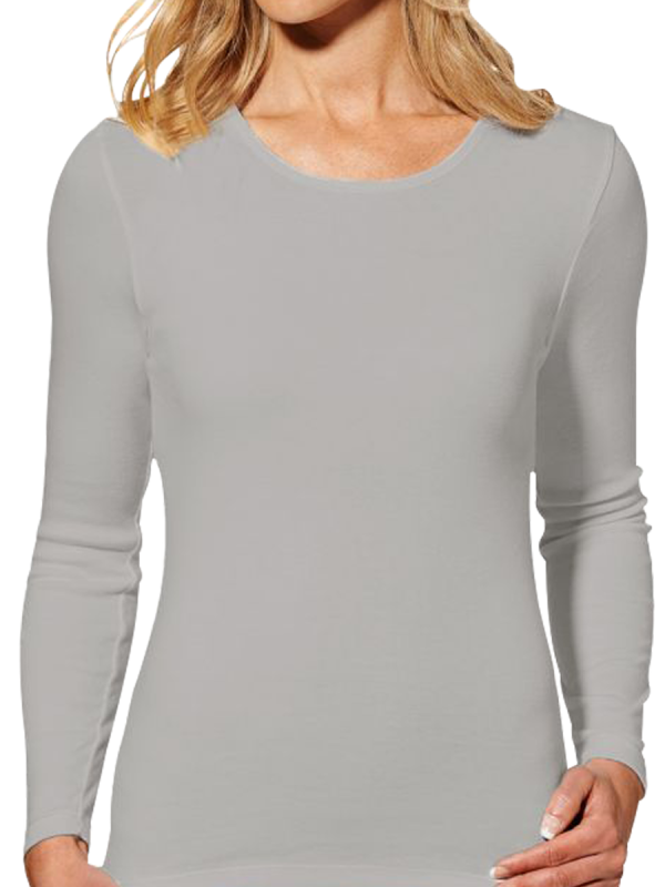 womens grey heat bods long sleeve thermal with wool