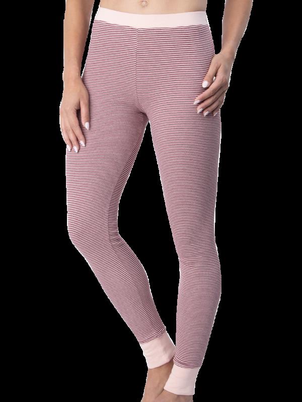 womens burgundy striped brushed cotton long john thermal - underworks