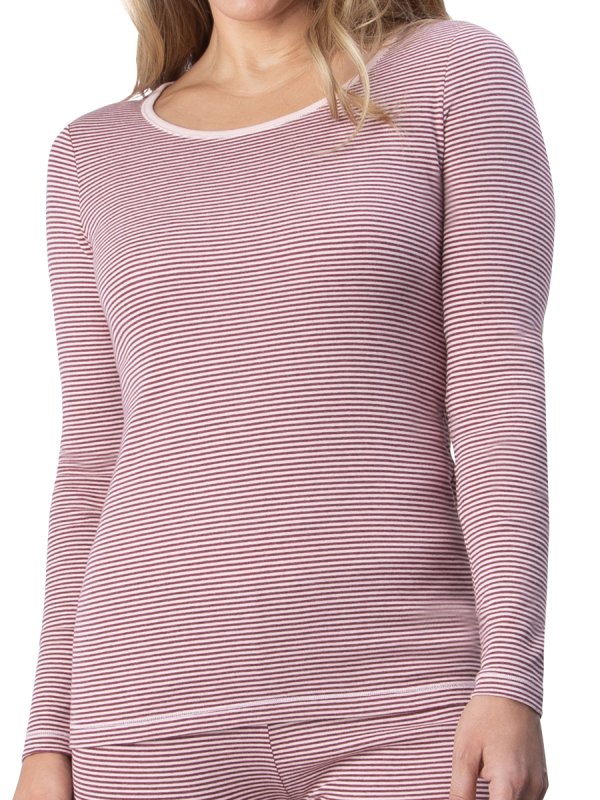 womens burgundy striped brushed cotton long sleeve thermal - underworks