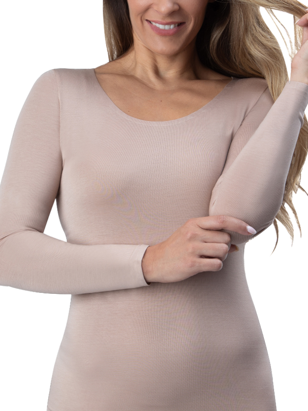 womens mocha single long sleeve invisible thermal - underworks