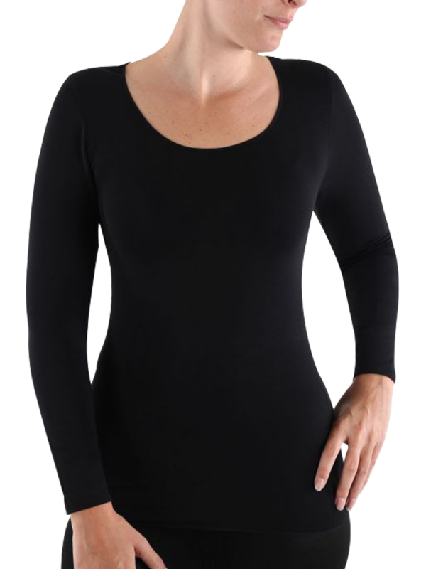 womens beige heat retention invisible thermal long sleeve - underworks