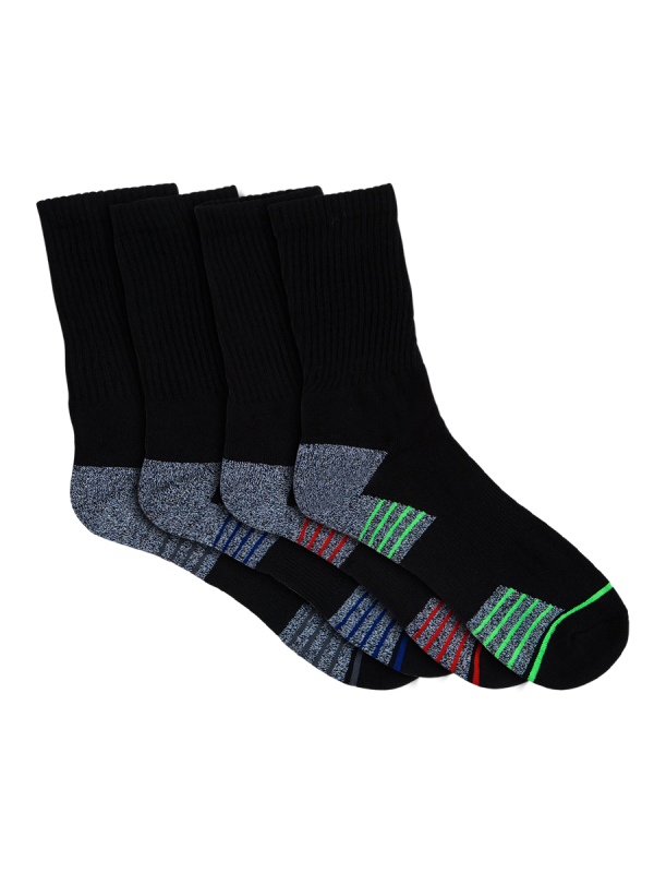 mens black crew sport socks - 4 pack - underworks