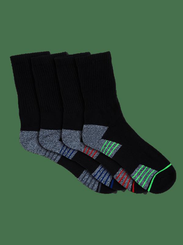 mens black crew sport socks - 4 pack - underworks