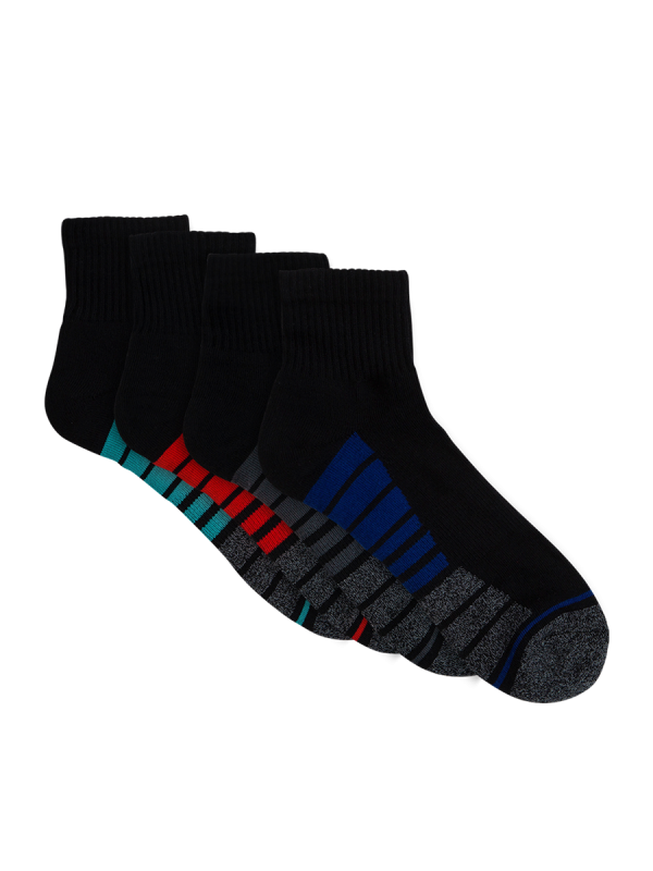 mens black quarter crew sport socks - 4 pack - underworks