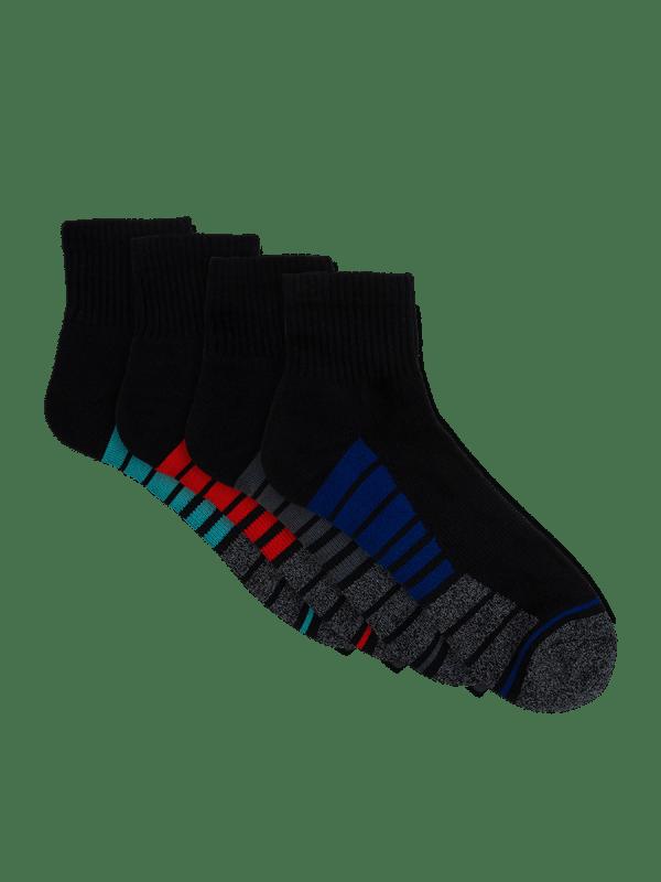 mens black quarter crew sport socks - 4 pack - underworks