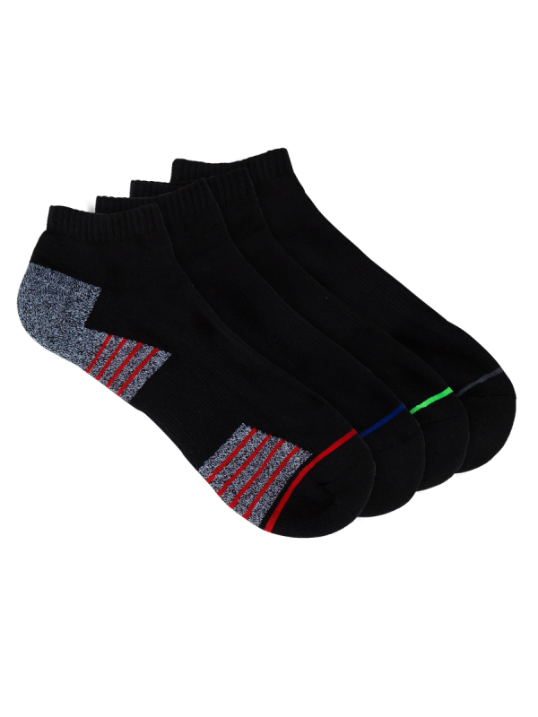 mens black low cut sport socks - 4 pack - underworks