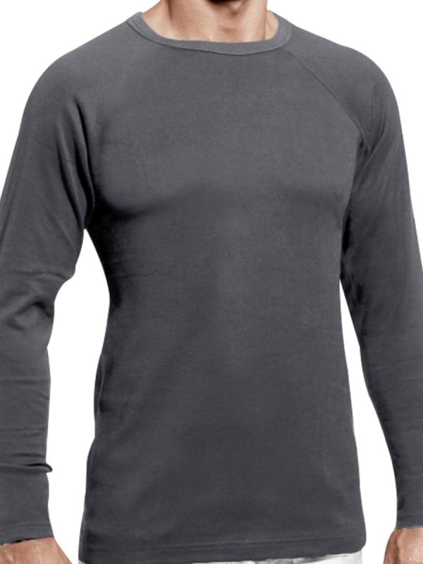 mens grey heat bods long sleeve thermal with wool - underworks