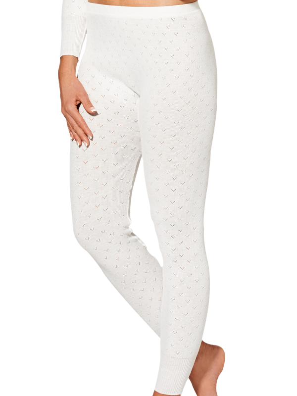 womens ivory pointelle long john thermal - underworks